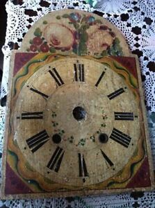Antique Grandfather/Grandmother Handpaited Wooden Clock Face