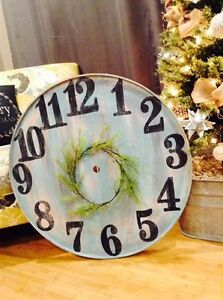 Large faux rustic shabby chic clock