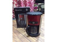 Russell Hobbs Heritage automatic coffee maker red wake up to warm coffee