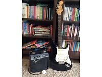 FENDER SQUIER BLACK ELECTRIC GUITAR AND AMP STARTER SET QUICK SELL