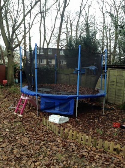 12ft Trampoline With Netted Cage And Stairs