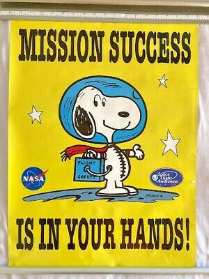 """NASA MFA Flight Safety (24x18) Poster SNOOPY """"Mission Success is in Your Hands"""""""
