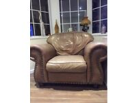 Brown soft leather chair used cond
