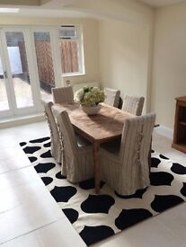 6 Cream with Black Stripe Linen Covered Dining Chairs