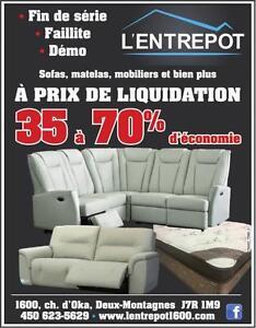 L'Entrepôt la référence dans la liquidation de meubles. Ne payez plus le pein prix !! Toujours 35 à 70 % d'économies !!