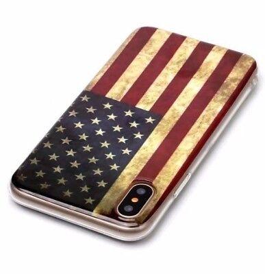 iPhone X / XS - TPU Rubber Silicone Slim Fit Skin Case Cover USA American Flag