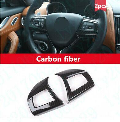 2x Carbon fiber Steering Wheel Button Frame cover For Maserati Levante 2017-2019