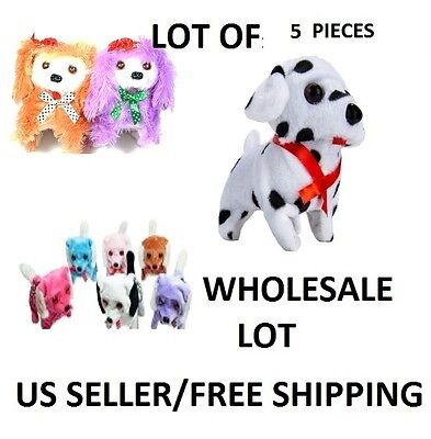 LOT OF 5 PIECES NEW BATTERY OPERATED BARKING WALKING WAGGING CUTE PUPPY DOG TOY