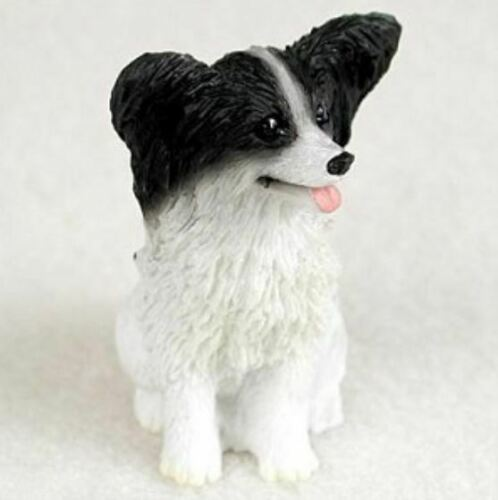 PAPILLON BLACK  WHITE TINY ONES DOG Figurine Statue Resin Pet Lovers