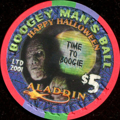 Vegas Halloween Ball ($5 Las Vegas Aladdin Happy Halloween 2001 Boogey Man's Ball Casino Chip -)