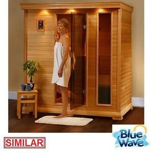 NEW BLUE WAVE 4 PERSON CEDAR SAUNA RADIANT SAUNAS INFRARED 9 CARBON HEATERS 2220 WATTS LED CHROMOTHERAPY TINTED