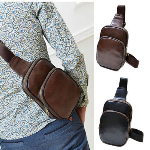 Men's Leather Chest Cycle Sling Pack Satchel Shoulder Bag Sm