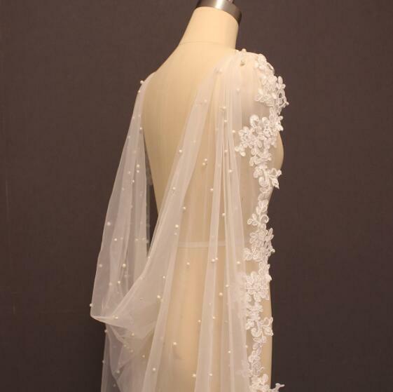 Cathedral Pearls Wedding Bolero Lace Shawl Veil 3M Long Bridal White Ivory Cape