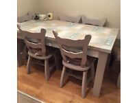 6 solid oak chairs and pine table 6ft