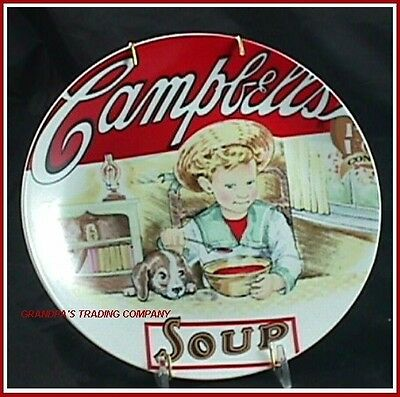 Vintage Campbells Soup Label Boy & Dog Collector Plate 2003 Heritage w Hanger Campbells Soup Label