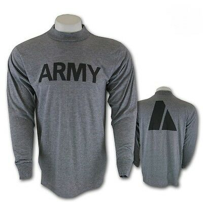 GENUINE U.S. ARMY GREY PT LONG SLEEVED LS T-Shirt PTU MOISTURE WICKING Small VGC