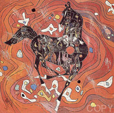"Tie-Feng Jiang       ""Black Horse, White Horse""  Set 2   Serigraph on Paper   BA"