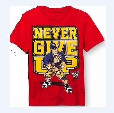 WWE John Cena Red CARTOON Shirt Boy's 14/16 NeW Short Sleeve NEVER GIVE UP Top
