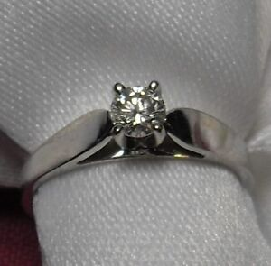"14k white gold .25ct "" Solitaire "" Diamond Engagement Ring"