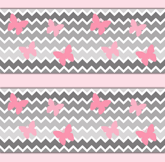 Chevron Wallpaper Border Wall Art Decals Girl Pink Gray