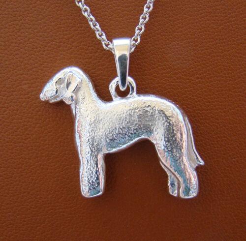 Large Sterling Silver Bedlington Terrier Standing Study Pendant