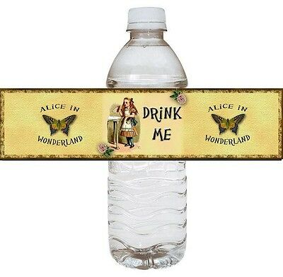 Alice in Wonderland water bottle label set of 6 printed on glossy - Water Bottle Label Paper
