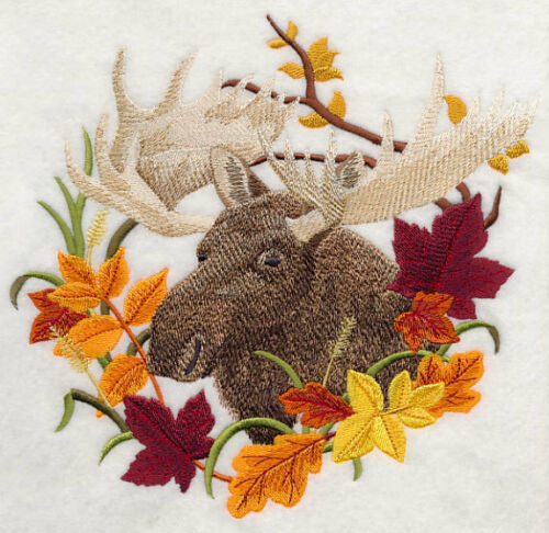 Large Embroidered Zippered Tote - Moose in Autumn Leaves H7589