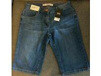 BNWT Next knee-length denim shorts, size 10