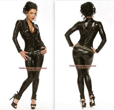 Black Metallic Womens Black Bodysuit Catsuit  Zip Up Halloween Costume / S-2xl - Halloween Black Bodysuits