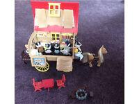 Sylvanian caravan and pony + badger family