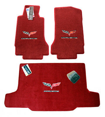 2005-2012 C6 Coupe Corvette Floor Mats & Cargo Mat Victory Red 32oz 2Ply Quality