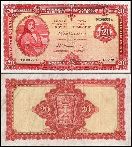 !COPY! IRELAND 20 POUNDS 1970 LADY LOVERY BANKNOTE !NOT REAL!