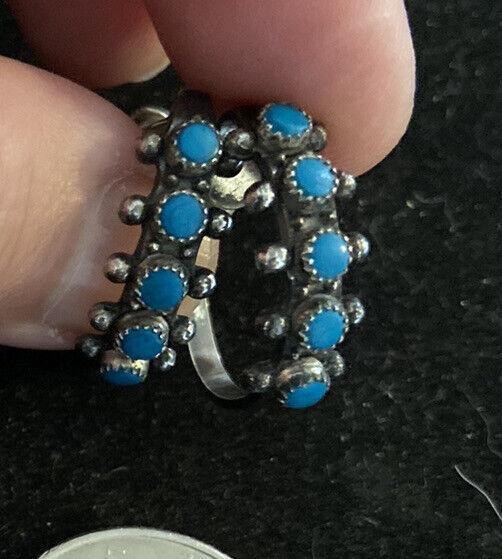 Vintage Sterling Silver Native American Turquoise Earrings Screw Back Hoops