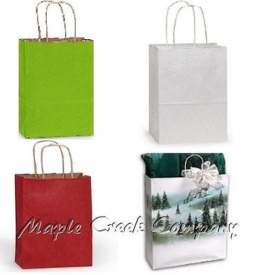5 Paper Gift Bags PURPLE, WHITE, RED or WINTER LANDSCAPE You Pick