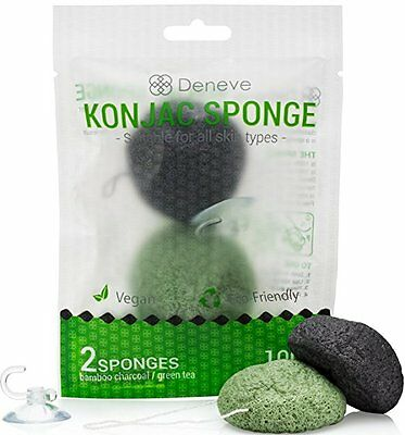 ( Konjac Face Sponge By Deneve - Exfoliating Facial Makeup Sponges - Green/Black)