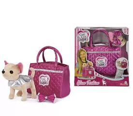 Chi Chi Love Glam Fashion Lifesize Chihuahua Dog Toy Pet In Girls Pink Handbag