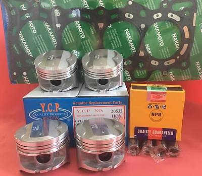 YCP P29 75mm STD Bore Pistons High Compression + NPR Rings +Gasket Honda D16 D15 Piston Compression Rings