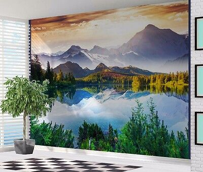 Beautiful Lake Mountain Scene Switzerland Alps wallpaper wall mural (26513044)