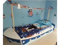Wooden boat bed and mattress