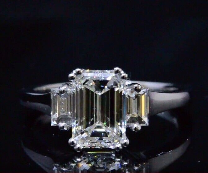 2.60 Ct Emerald Cut Three Stone w/ Baguette Diamond Engagement Ring H,VS1 GIA 2