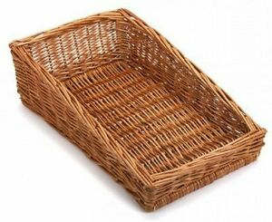 Sloping Wicker Retail Display Basket Small Counter Top Shelf Bread Cheese Crisps