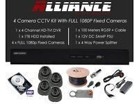 Full HD 1080P 4 camera CCTV System - 1TB hard drive - brand new