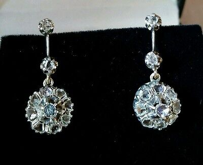 A pair of George lll gold & silver cluster earrings. Set with Rose cut Diamonds