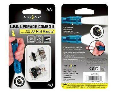 NEW Nite Ize LED Upgrade Combo II Fits AA Mini Maglite Mag-Lite LED Push Button