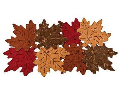 FALL LEAVES TABLE RUNNER MAT Felt Autumn Thanksgiving Harvest 24