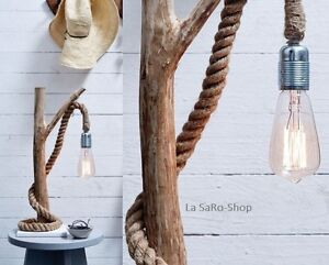 Tischleuchte Tischlampe Maritimer Look Holz, Metall  u. Seemanns TOP Design
