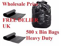 Heavy Duty Bin Bags Refuse Sacks 500 x bin Bags FREE DELIVERY ALL UK