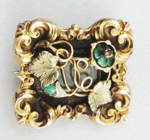 FINE UNCOMMON EDWARDIAN 15K Solid Yellow Gold Turquoise Ruby Locket/Brooch 6.5g