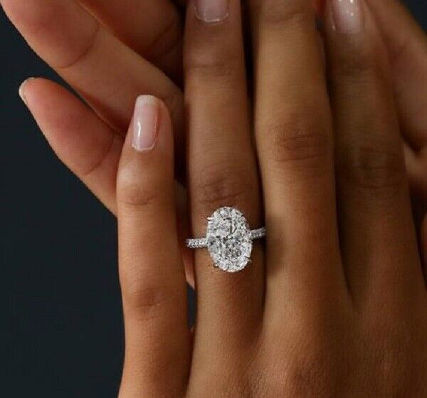 GIA Natural 2.10 Ct. Oval Cut Micro Pave Diamond Engagement Ring w/ Band G, VS2 3