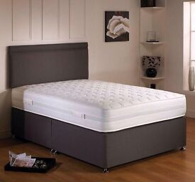 BRAND NEW 4FT 6 LUXURY DOUBLE DIVAN BED SETS CAN DELIVER TODAY LESS THAN HALF PRICE